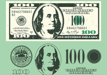 100 Dollar Bill Elements - Free vector #390563