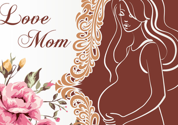 Vector Illustration of Pregnant mom invitation - Free vector #390673