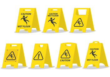 Wet Floor Caution Board - vector gratuit #390683