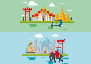 Wonderful Bangkok Flat Design - бесплатный vector #390753