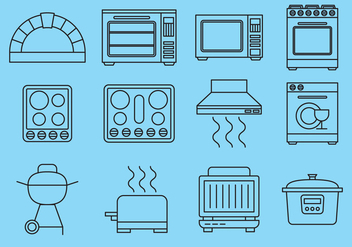 Line Kitchen Items Icons - Kostenloses vector #391053