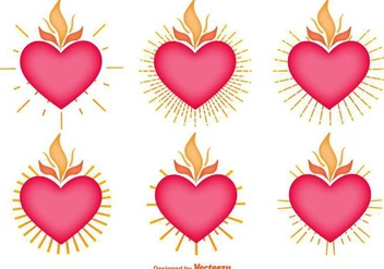 Vector Set Of Sacred Heart Icons - vector gratuit #391183