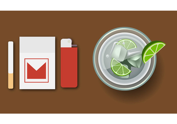 Vector illustration of Cocktail Caipirinha top view - Free vector #391203