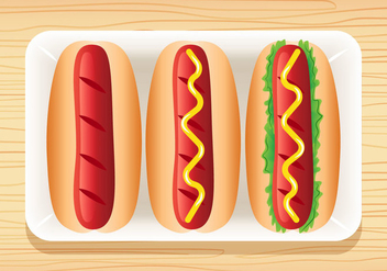 3 Delicious Hotdog Vectors - бесплатный vector #391213