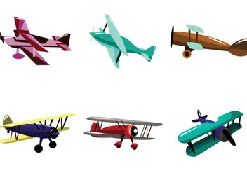 Multicolor Biplane Vector - Free vector #391693
