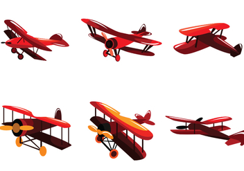 Bright Red Biplane Vector - Free vector #391843