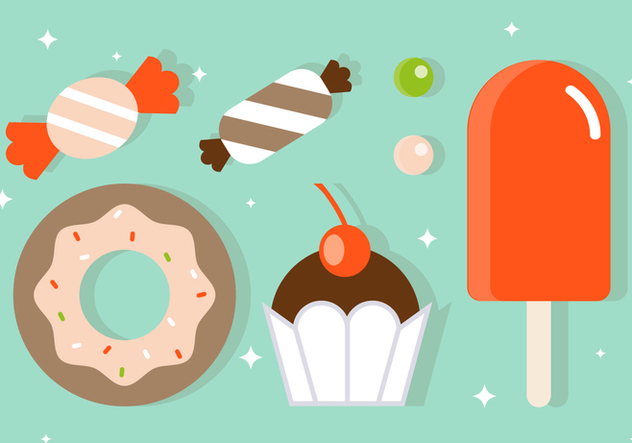 Free Flat Sweets Vector Illustration - бесплатный vector #391923