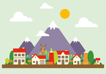 Mountain Cityscape Vector Illustration - бесплатный vector #391963