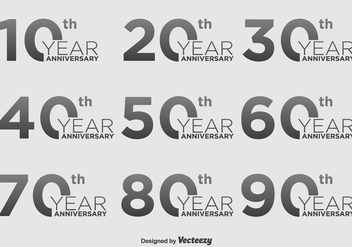 Anniversary Vector Icon Set - бесплатный vector #392013