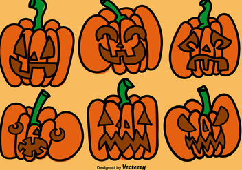 Cartoon Pumpkins Vector Set - Free vector #392133