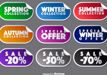 Vector Collection Of Promotional Stickers - бесплатный vector #392143