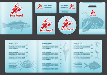 Seafood Square Menu - vector #392473 gratis