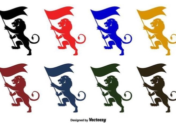 Lion Rampant Vector Silhouettes - Free vector #392583