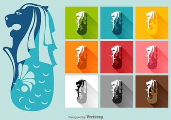 Merlion Vector Flat Icons - Free vector #392593