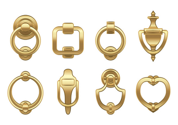 Door Knocker Gold Vector - vector #392623 gratis