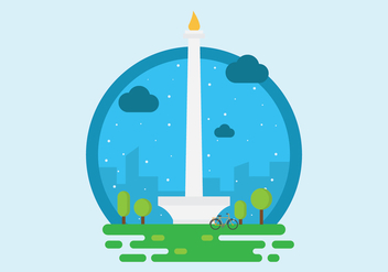 Free Monas or National Monument Tower Illustration Vector - Free vector #392663