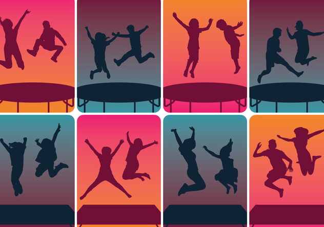Trampoline Silhouettes Jumping - Free vector #392783
