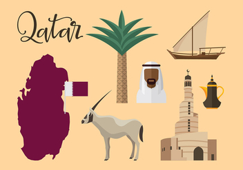 Qatar Travel Icon Vector - бесплатный vector #392883