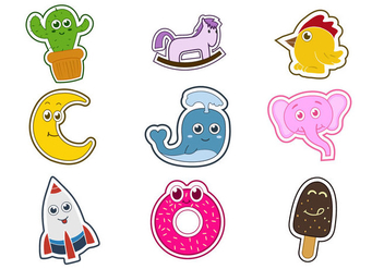 Cute Fun Fridge Magnet Character Vectors - vector #393013 gratis