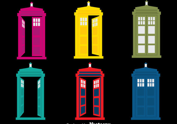 Colorful Police Boxes Vector - vector gratuit #393343