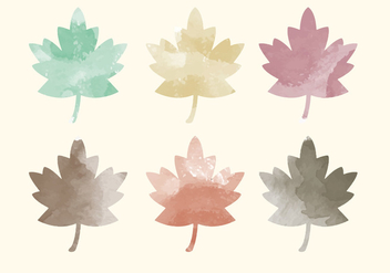 Vector Watercolor Leaves - vector gratuit #393443