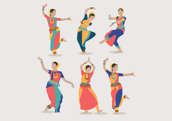 Indian Women Dancing Vector - Kostenloses vector #393683