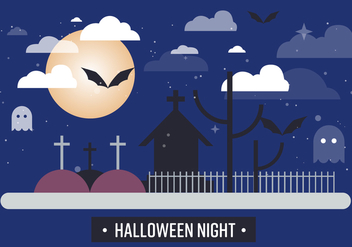 Free Spooky Halloween Night Vector Illustration - бесплатный vector #393753