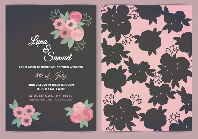 Vector Pink Gray Flower Wedding Invite - Free vector #393883