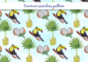 Tropical Vector Summer Seamless Pattern - vector gratuit #393923