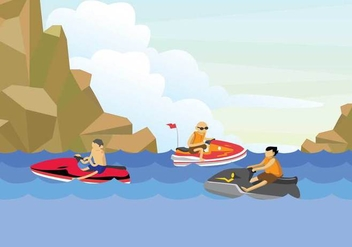 Free Jet Ski Illustration - бесплатный vector #393953