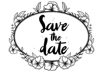 Hand Darwn Pansy Save The Date Invitation Vector - Free vector #394243