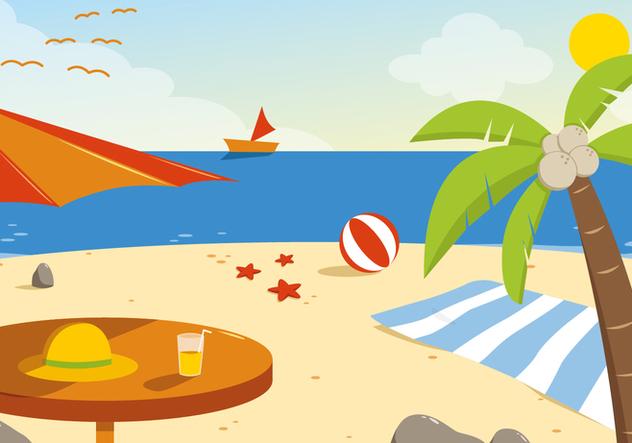 Free Summer Beach Vector Illustration - Free vector #394303