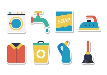 Free Housework Cleaning Sticker Icons - vector gratuit #394403