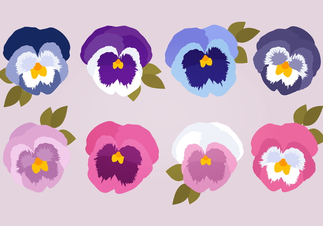 Pansies Vector Collection - Free vector #394433
