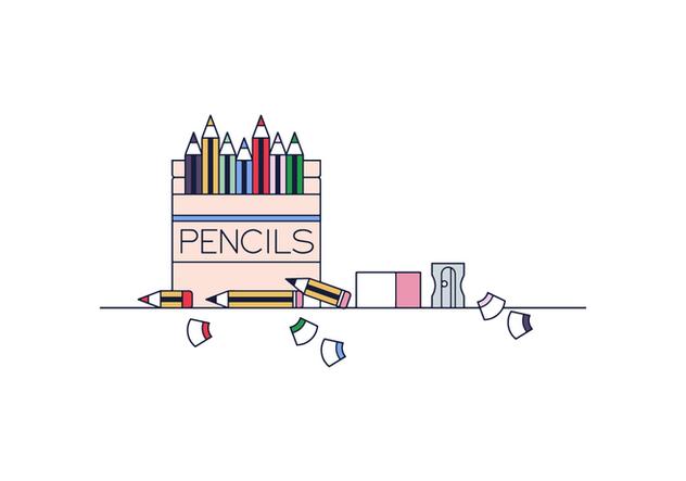 Free Pencils Box Vector - Free vector #394663