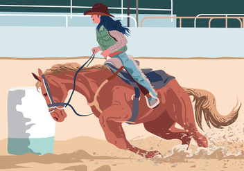 Cowgirl Barrel Racer - Free vector #394853