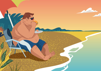 Vector Fat Guy Eating At The Beach - Free vector #394963