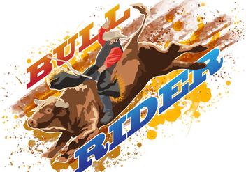 Bull Rider Riding Wild Bull - Free vector #394973