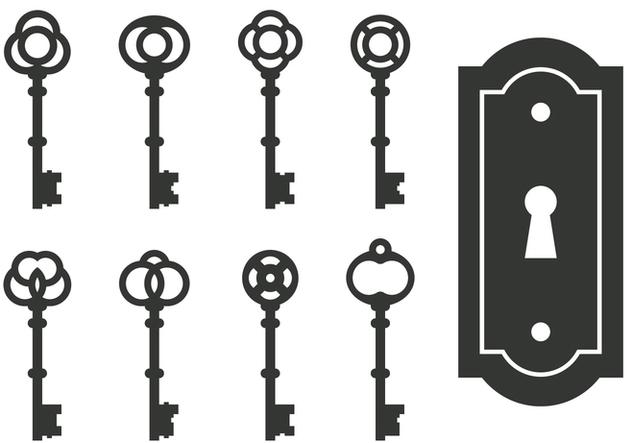 Classic Skeleton Key Vectors - бесплатный vector #395043