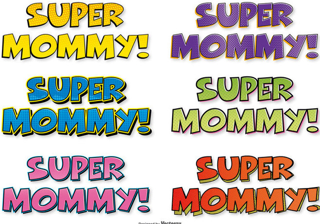 Super Mom Comic Labels - vector gratuit #395583