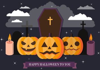 Free Spooky Halloween Vector Illustration - vector gratuit #395773