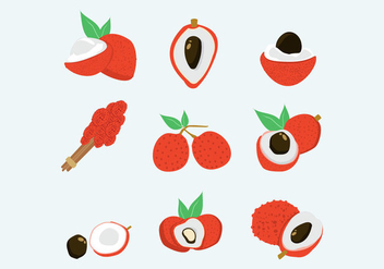 Lychee fruits isolated vectors - vector gratuit #396453