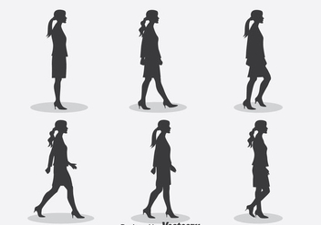 Woman Silhouette Walk Cycle Vector - Free vector #396593
