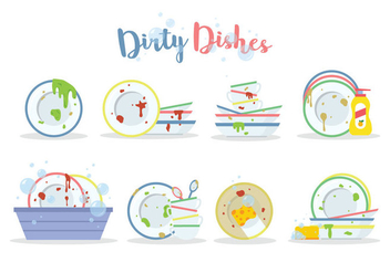 Free Dirty Dishes Vector - Free vector #396853