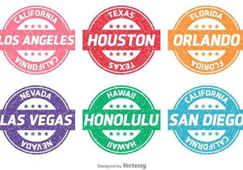 Cities and States Vector Stamps - бесплатный vector #397033