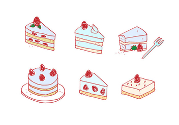 Handdrawn Strawberry Shortcake Vector Set - vector gratuit #397173