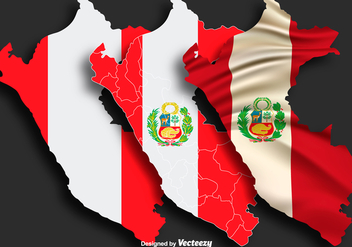 Vector Illustration Of The Map Of Peru With Flag - vector gratuit #397403