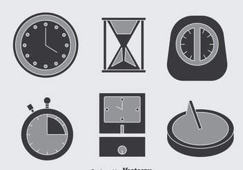 Clock Grey Icons Vector - Kostenloses vector #397713