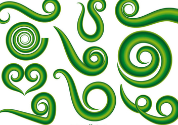 Vector Set Of Green Maori Koru Curl Ornaments - бесплатный vector #398063