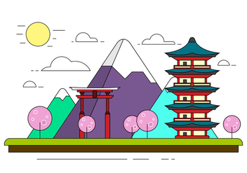 Free Japanese Landscape Illustration - Free vector #398143